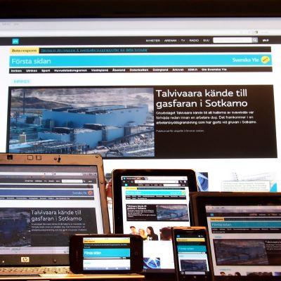 Svenska Yles betatjänst på olika plattformer från mobiltelefoner till tv-skärm