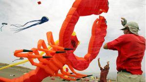 Miehet lennättävät meriaiheisia leijoja leijafestivaalilla Teneriffalla.