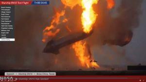 Starship SN10 exploderar efter landning.