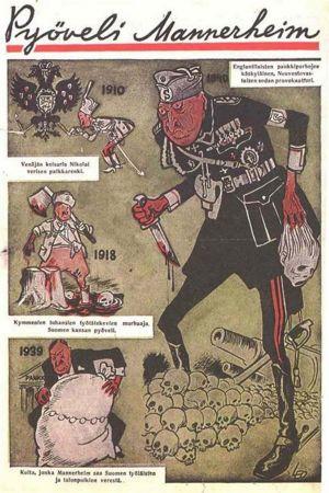 Tecknad nidbild av Mannerheim som slaktare.