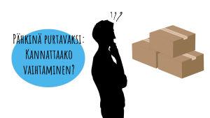 Pähkinä purtavaksi: kannattaako vaihtaminen? Siluetti kysymysmerkeillä katselee kolmea laatikkoa