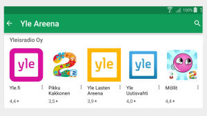 Kuvakaappaus Google Play -sovelluskaupasta: Yle Areenan kehittäjän muita sovelluksia.