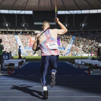 Johannes Vetter kastar spjut, 2017.