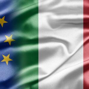 Italiens och Europeiska unionens flagga