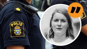 Svenska polisens emblem på en t-shirtärm. Ovanpå en bild på redaktör Marianne Sundholm och ett citattecken.