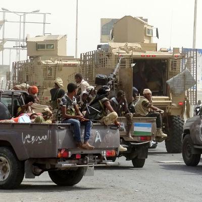 Regeringsstyrkor i Jemens hamnstad Hodeida.