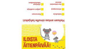 Pikku Kakkosen tulostettava äitienpäiväkortti