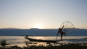 Burmesisk fiskare står i fören på båt