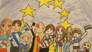 Aada Nordmans Europa-teckning (Bilden är beskuren).
