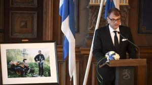 Statsminister Juha Sipilä talade vid minnesstunden för Mauno Koivisto vid Ständerhuset i Helsingfors den 25 april 2017.