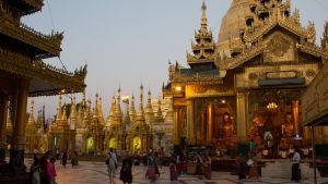 tempel och turister i Burma