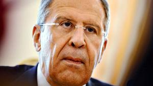 Rysslands utrikesminister Sergej Lavrov i Moskva den 21 april 2014.