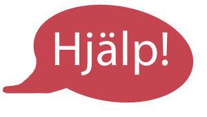 Texten Hjälp! i en pratbubbla