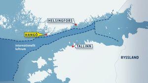 Plan kränkte finländskt luftrum utanför Hangö udd 23.8.2014.