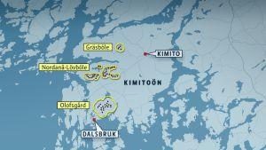 Karta över inplanerade vindkraftsparker på Kimitoön