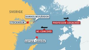 Karta över ubåtsmisstankar i Östersjön