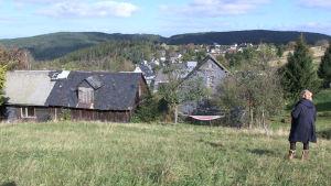 Den lilla byn Volkmannsdorf i Thüringen, Tyskland.