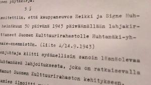 Heikki ja Signe Huhtamäen testamentti Suomen Kulttuurirahastolle.
