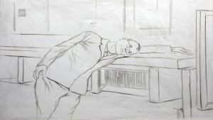 Taiteilija Kaj Stenvallin keskeneräinen maalaus poliitikosta