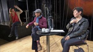 Tommi Korpelan esittämä teatterijohtaja, Sanna-Kaisa Palon esittämä ohjaaja ja Stradan toimittaja käyvät kiihkeää väittelyä seksuaalisesta halusta Q-teatterin lavalla