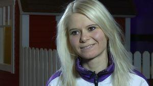 Skidskytten Mari Laukkanen i Kontiolahti i mars 2015