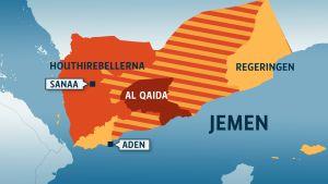 Karta över områden som kontrolleras av de olika parterna i konflikten i Jemen, 25.3.2015