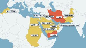 Karta över MÖ och norra Afrika med Saudiarbiens Jemenkoalition och Iran utmärkt. Gjord 25.3.2015