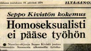 urklipp, Seppo Kivistö blir uppsagd p.g.a. homosexualitet 1974