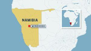 Karta över namibia och huvudstaden Windhoek.