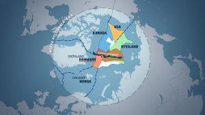 Karta över arktiska ländernas anspråk på utvidgade ekonomiska zoner.
