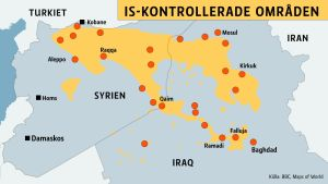 Karta över IS-konrollerade områden i Irak och Syrien