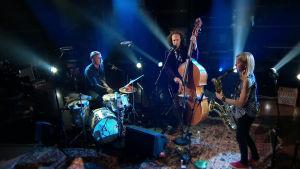 Mopo (Linda Fredriksson saksofoni, Eero Tikkanen kontrabasso, Eeti Nieminen rummut) Ylen M1-studiossa