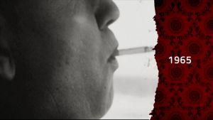 Närbild av rökande man i bil