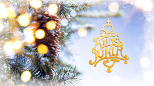 Kuusijuhla-ohjelman kultainen logo ja luminen havupuu