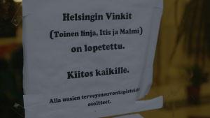 Meddelande till kunder att Vinkki har stängt i Helsingfors