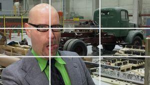 Puoli Seitsemän Mittamies vierailulla Mikkelissa Suutarisen betonielementtitehtaalla.