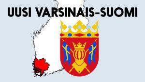 Suomen kartta, jossa Varsinais-Suomen alue on värjätty punaisella. Kuvassa Varsinais-Suomen vaakuna sekä teksti uusi Varsinais-Suomi.