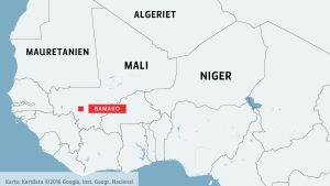 Karta över Mali och grannländer.