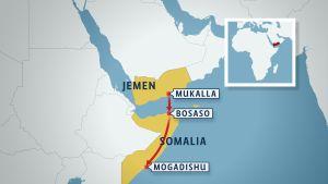 karetra över flykt från jemen till somalia