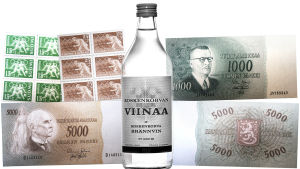 Tapio Wirkkalan suunnittelemia postimerkkejä, Koskenkorvaviinapullon etiketti ja seteleitä