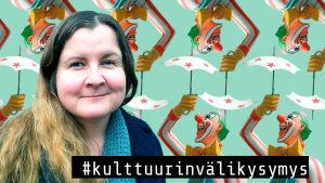 Käsikirjoittaja, ohjaaja Jenni Toivoniemi klovnikuvien edessä