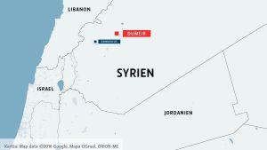 Karta över Syrien och städerna Dumeir och Damaskus.