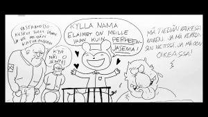 Yksityiskohta Kaisa Lekan, Ville Pirisen ja Juho Juntusen yhteispiirroksesta Kulttuurin välikysymykseen.