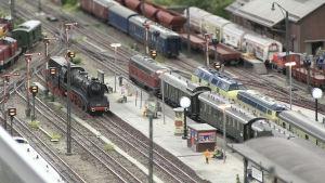 En modelljärnvägs bangård