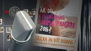 mikrofon och en affisch där det frågas om du är lyssnarnas sommarpratare 2016
