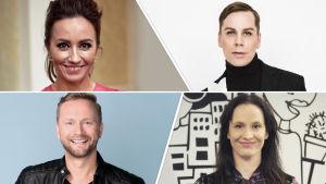 Euroviisujen esikatselumaratonin kommentaattorit Jaana Pelkonen, Cristal Snow, Mikko Silvennoinen ja Maija Vilkkumaa