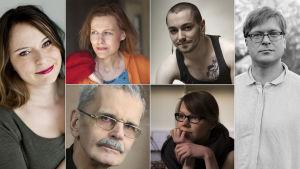 Kirjailijat Saila Susiluoto, Anja Erämaja, Susinukke Kosola, Kristian Blomberg, Gösta Ågren, Virpi Vairinen