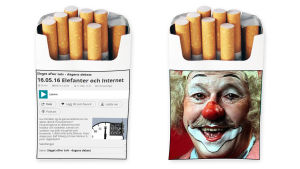 tobakspaket med lustig bild på