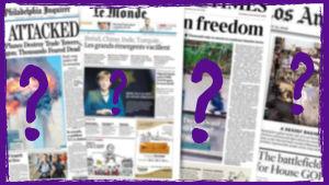 Sanomalehtien kansikuvia. Kuvien kohdalla on kysymysmerkkejä.