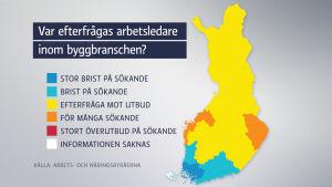 Karta över arbetsledarbehov inom byggbranschen.
